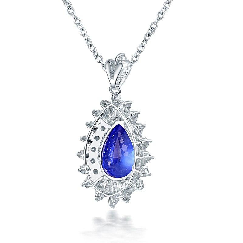 LOVERJEWELRY, женский элегантный кулон, твердый, 18 К, белое золото, голубой танзанит, Свадебный кулон, самоцвет в форме груши, настоящий бриллиант - 3