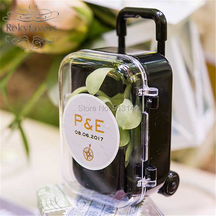Wedding Gifts For Bridal Party: FREE SHIPPING 100PCS Clear Mini Rolling Travel Suitcase