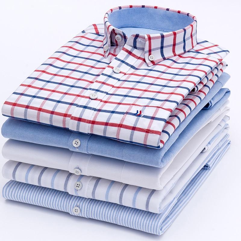 Plus Size 5XL 100%  Cotton Oxford Dress Shirt Men Social Mens Plaid Casual Shirt Male Striped Work Shirts Solid Color