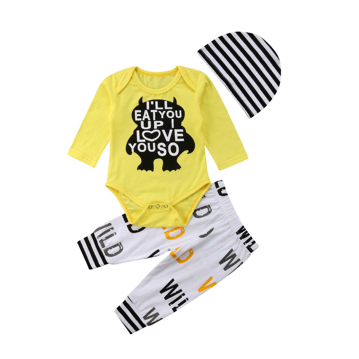7415924c6 3pcs Newborn Infant Baby Boys Girls Clothing Set Yellow Long Sleeves  Rompers Bodysuits+Pants +