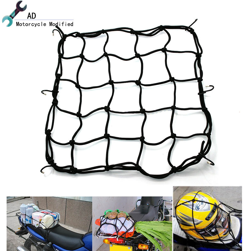 40x40cm Motorcycle Oil Tanker Cargo Net Hooks Elastic Mesh Straps Motorcross Helmet Luggage Bags Holder Mesh Cover Scooter Bag #