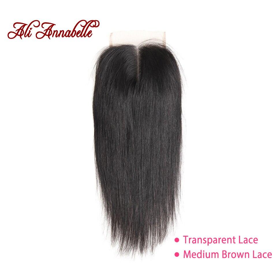 ALI ANNABELLE HAIR Brazilian Straight Lace Closure Middle Part Medium Brown/Transparent 4*4 Brazilian Remy Hair Closure 10-22
