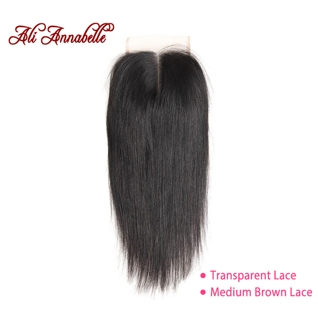 ALI ANNABELLE HAIR Brazilian Straight Lace Closure Middle Part Medium Brown/Transparent 4*4 Brazilian Remy Hair Closure 10-22