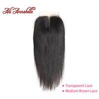 ALI ANNABELLE HAIR Brazilian Straight Lace Closure Middle Part Medium Brown/Transparent 4*4 Brazilian Remy Hair Closure 10 22