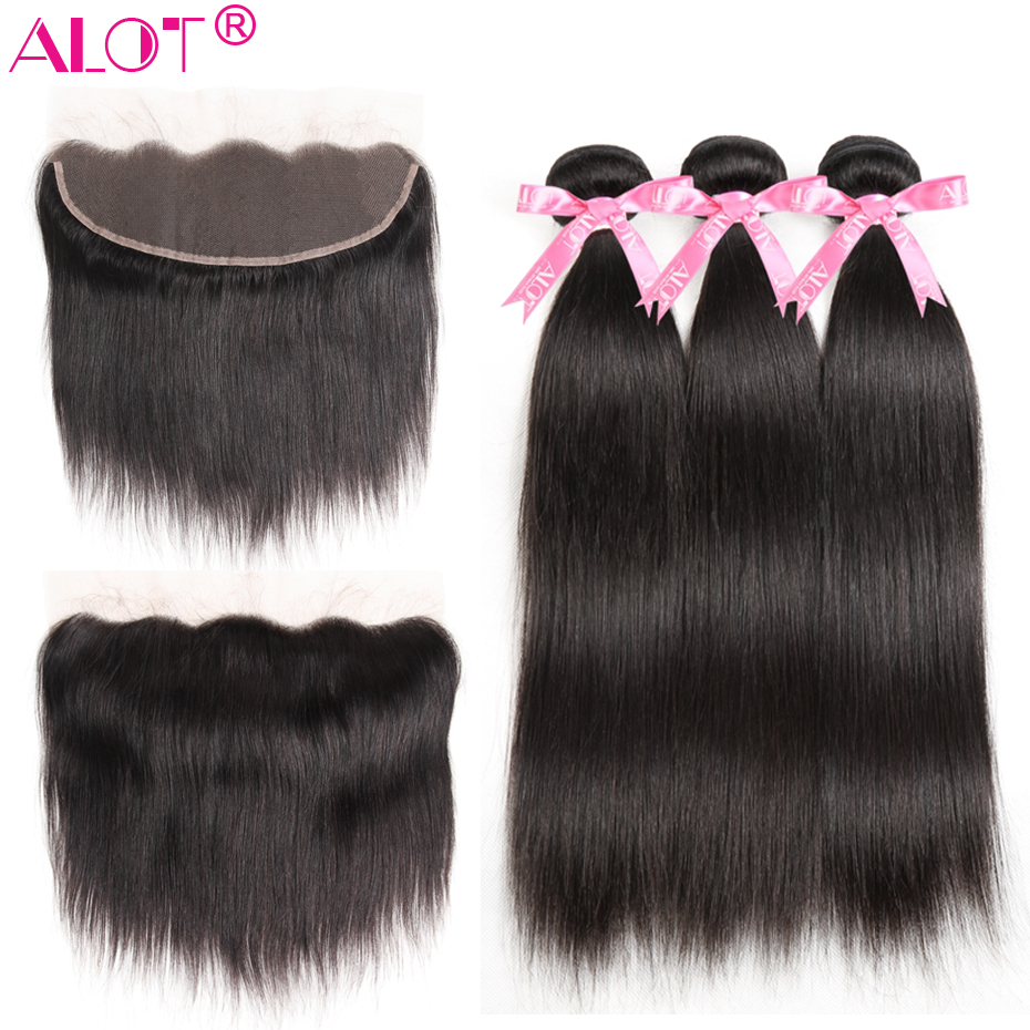 Alot Bundles With Frontal Straight Hair 3 Bundles With Frontal Peruvian Human Hair Bundles With Lace