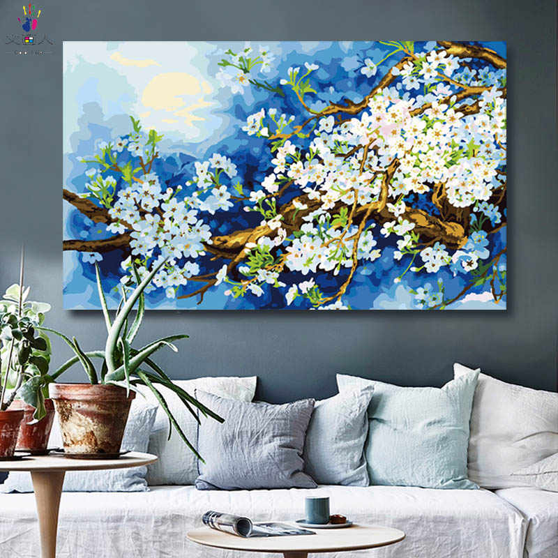 diy paintings by numbers beautiful Plum blossom paint by numbers with kits handwork for hoom room wall decoration frameless