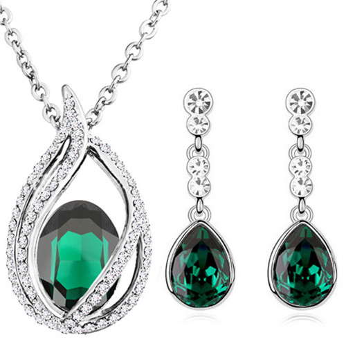 austrian Crystal tear drop flame pendant fashion jewelry sets - Fashion Jewelry - Photo 1