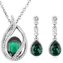 Emerald green fashion queen kate wedding bridal 18KGP austrian Crystal tear drop jewelry sets necklace earrings set 80042
