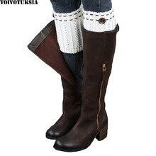 Women Winter Leg Warmers Socks Button Crochet Knit Boot Socks Toppers Cuffs Multi Colors christmas hemp flowers crochet knit arm warmers