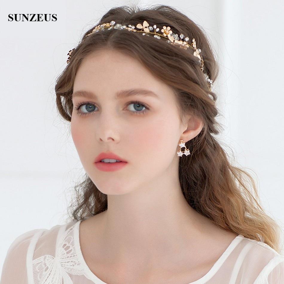 Gold Small Flower Bridal Hair Sash Hand-made Crystal Head Chain Wedding Accessory SQ0188