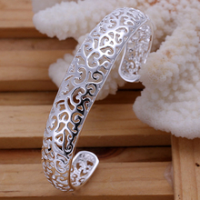 2015 new arrived 925 sterling silver jewelry small nice hollow flower open cuff bracelet  bangle for women promotion trendy