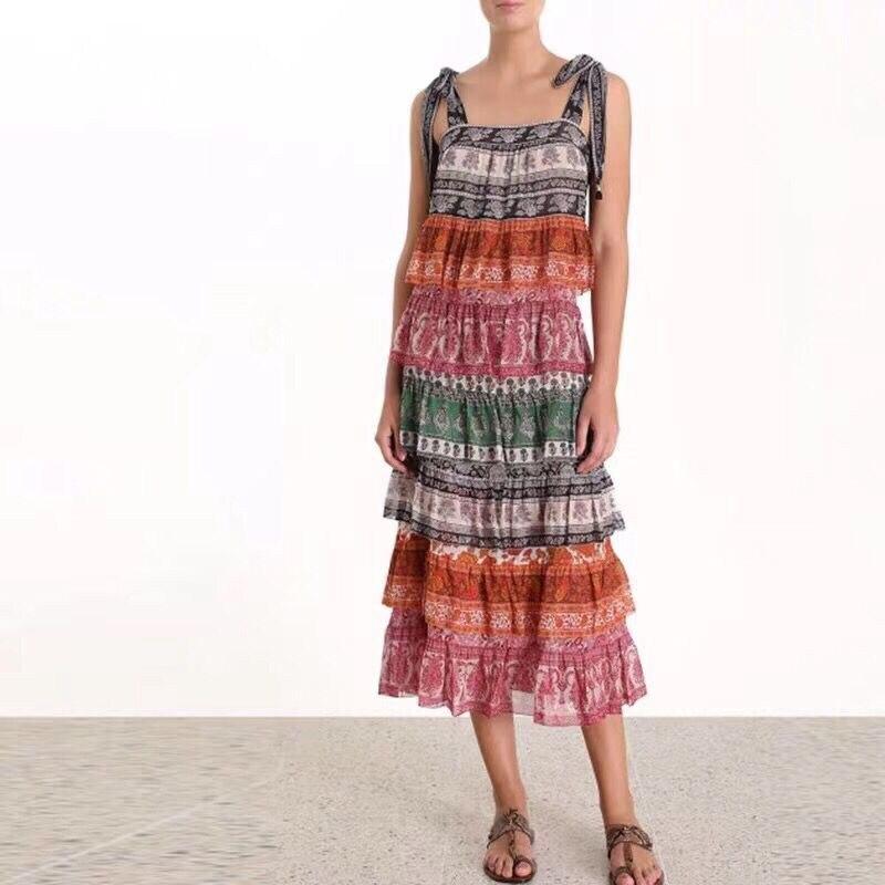 2019 new arrive spaghetti strap women beach dress bohemian floral print midi dress high quality