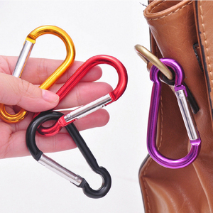 Image 5 - 5pcs 다채로운 알루미늄 합금 R 모양의 Carabiner 키 체인 후크 봄 스냅 클립 캠핑 하이킹 등산 액세서리 여행 키트