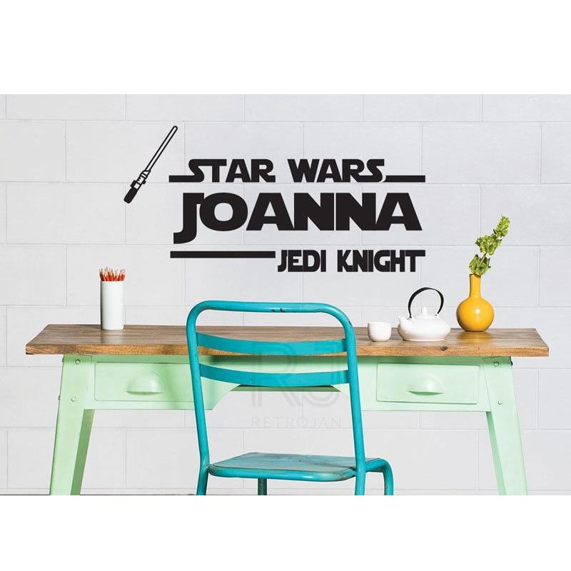 Personalised Starwars Jedi knight name vinyl wall art decal sticker 4 SIZES