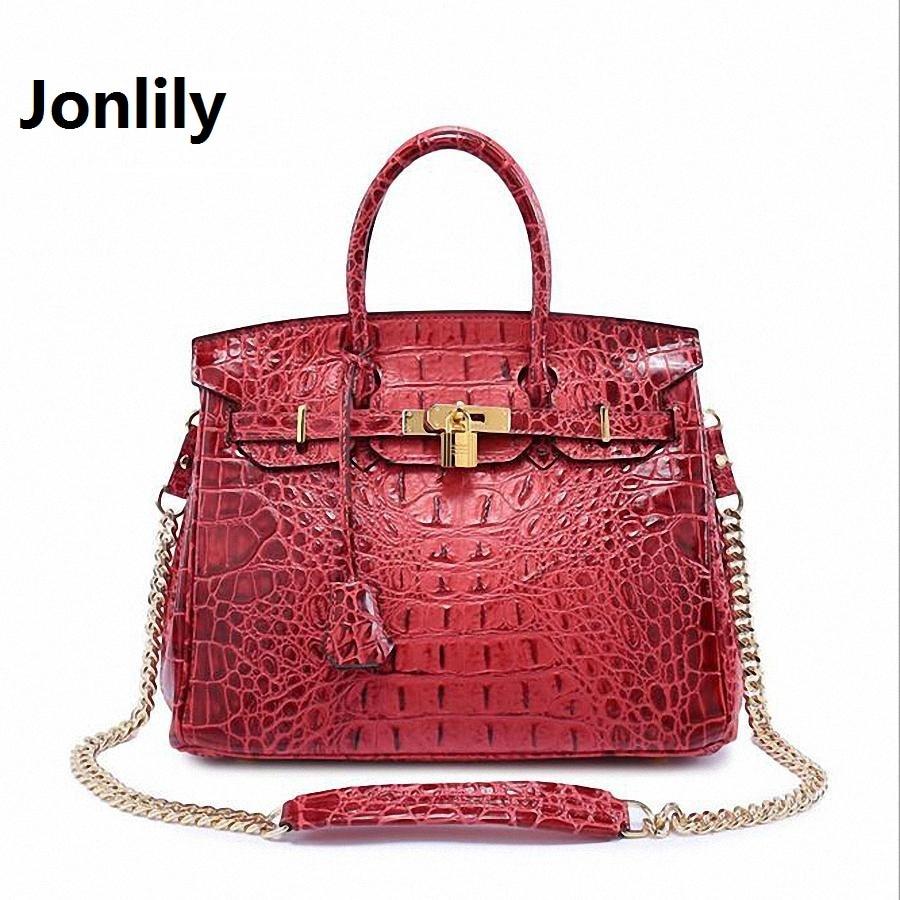 Jonlily Authentic Women Crocodile Bag 100% Genuine Leather Women Handbag Hot Selling Tote Women Bag Luxury Brand bags-SLI-167 jonlily large genuine leather tote bag 2017 luxury women shoulder bags crocodile women bag brand handbag bolsa feminina li 170
