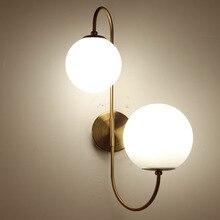 Современная nordic стекло мета черный/золотой шар Ретро Винтаж настенный светильник E27 Лофт для кафе спальня фойе