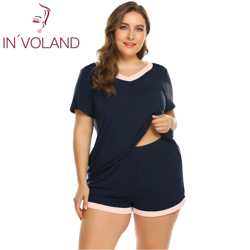 IN'VOLAND Women   Pajamas   Plus Size 5XL Solid Color Lady Sleepwear Short Sleeve V-Neck Tops+Shorts   Pajamas     Sets   Oversized