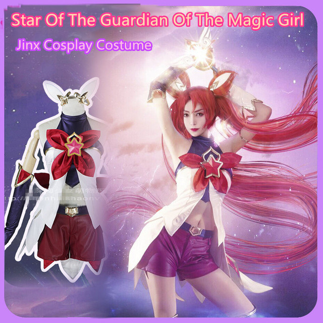 Game LOL Jinx Cosplay Star Of The Guardian Of The Magic Girl Costume Free Shipping