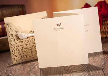 100pcs Gold Square Laser Cut Wedding Invitations Engagement Marriage Birthday Cards with Bow Hollow Custom Print For Free CW5011