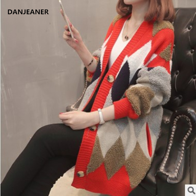 Danjeaner Korean Style Women Thick Cashmere Sweaters Winter Clothes Long Sleeve Loose Casual Long Cardigan Knitted Tops