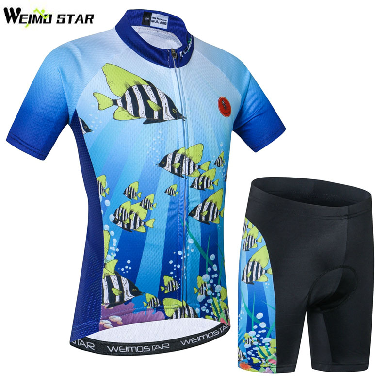 Kids Cycling Jersey Set Summer Children Bicycle Clothes Padded Cartoon Clothing Breathable Bike Clothing Boy Girl Sport Wear children s bicycle kids balance bike ride on toys for kids four wheels child bicycle carbon steel bike for children 1 2 years