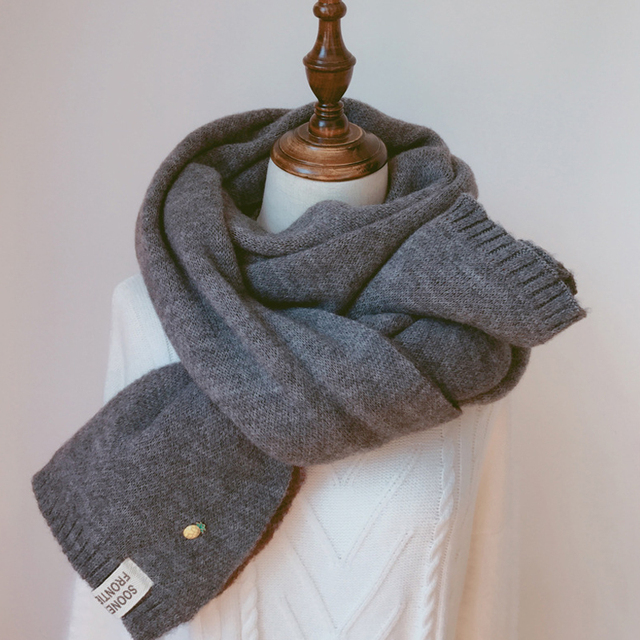 Solid Cashmere Winter Thicken Warm Soft Long Scarf 3