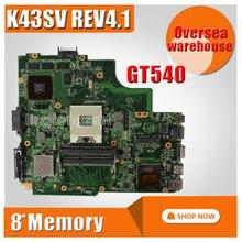 For Asus K43SJ K43SV A43S X43S Laptop motherboard HM65 N12P-GS-A1 REV4.1 GT540M 1GB DDR3 VRAM Main board 100% test