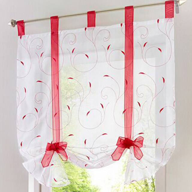AuBergewohnlich Roman Shade European Embroidery Style Tie Up Window Curtain Kitchen Curtain  Voile Sheer Tab Top Window Cortinas
