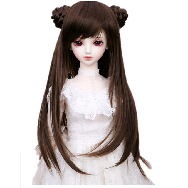 Новый Стиль BJD Парик Длинные Волосы с 2 Булочки, Кукла Аксессуары, (17.5-19 СМ) 1/4 BJD Куклы Парики Из Синтетических Волос для Куклы