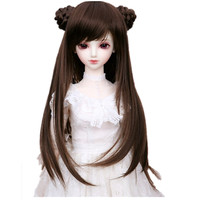 (17.5 19 CM) 1/4 BJD Wig Retro Long Hair Straight Wigs with 2 Buns Doll Accessories, 1/4 BJD Doll Synthetic Hair for Dolls Toy
