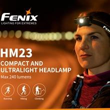 Camping โคมไฟ FENIX HM23 LED กันน้ำ AA ไฟหน้า MAX 240lm
