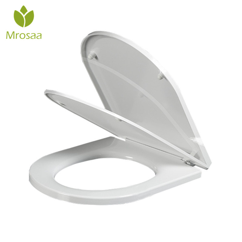 все цены на Mrosaa U Type Toilet Seats Cover Toilet Part High Quality PP Universal Ultra-thin Slow-Close Toilet Seat Lid for Bathroom Toilet