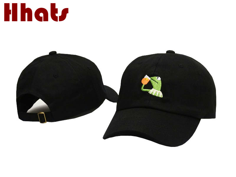 som i dusch Broderad Sipping Tea Frog Dad Hat Kvinnor Men Kermit Ingen av mina Business Baseball Cap Hip Hop Trucker Bone