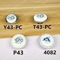 Estilo Rural Cerâmica branca Único botão de punho da Mobília do armário de Cozinha gaveta puxa com flor azul de impressão