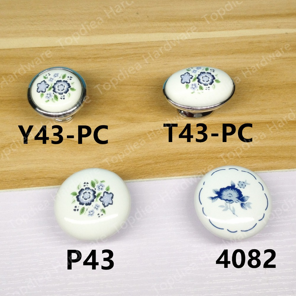 Rural Style white Ceramic Single knob  Kitchen Furniture handle  cabinet drawer pulls  with blue flower print single sided blue ccs foam pad by presta