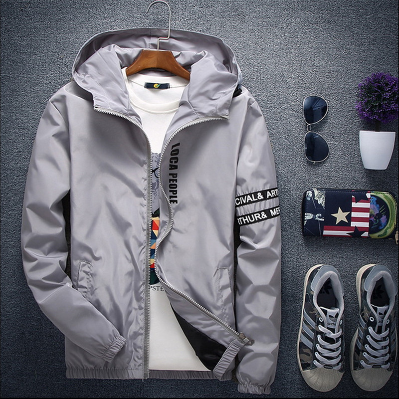 2018 Spring Autumn New Fashion Slim Fit Young Men Hooded Jacket Thin Jackets Brand Casual Windbreaker Top Quality Big Size M-5XL