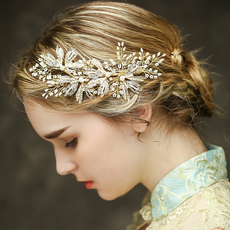 Luxury Gold Bridal Headpiece Wedding Hair Accessories Pearl Combs Handmade Prom Headdress In Jewelry From On