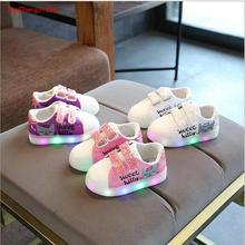 2018 New cartoon girls LED lighted princess baby shoes casua