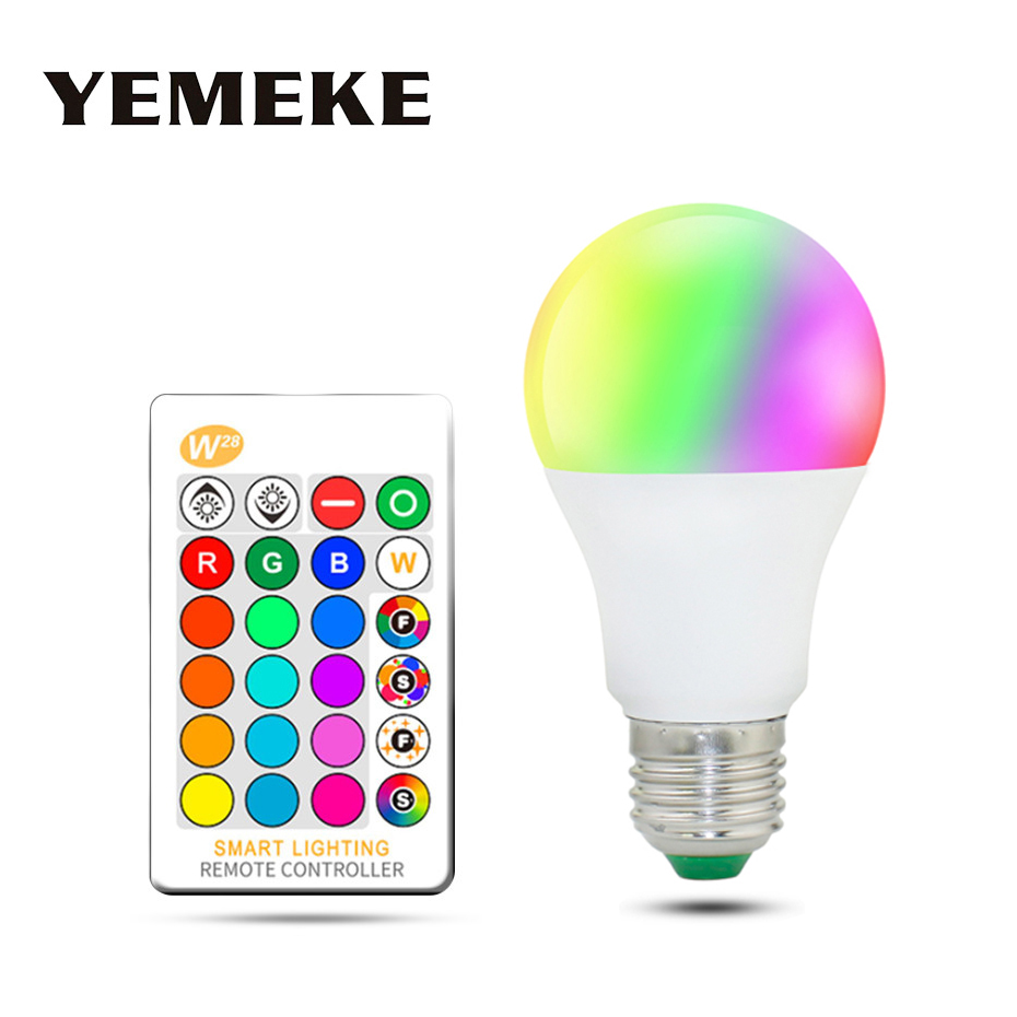 RGB LED Bulb Light E27 5W 10W 15W Dimmable LED RGB Lamp Multicolor Changeable+IR Remote Control RGB Lampada Indoor Lighting Lamp ...