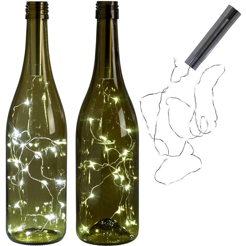 SOLLED battery power Warm white Bottle Lights LED Cork Shape String Lights for Bistro Wine Bottle Starry Bar Party Valentines fashion windproof butane gase lighter w red wine bottle opener 2 led lights gold silver