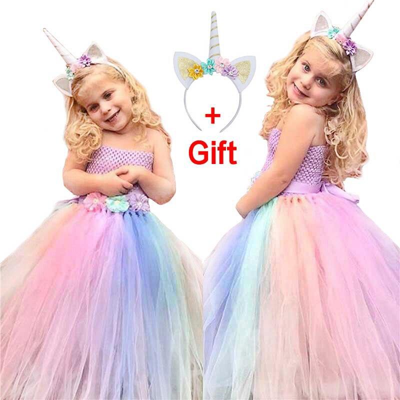 2018 summer new flower girl dresses girls unicorn rainbow