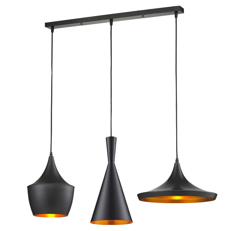 Black/White 3 Pieces/Set Metal Pedant Lights with Round/Long Base Nordic Designer Pendant Lamp Gold Inside,E27 90-240V PLL-64 ...