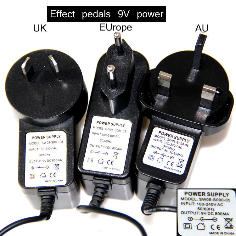 buy 9v dc 800ma guitar effect pedal power supply adapter eu au uk plug from. Black Bedroom Furniture Sets. Home Design Ideas