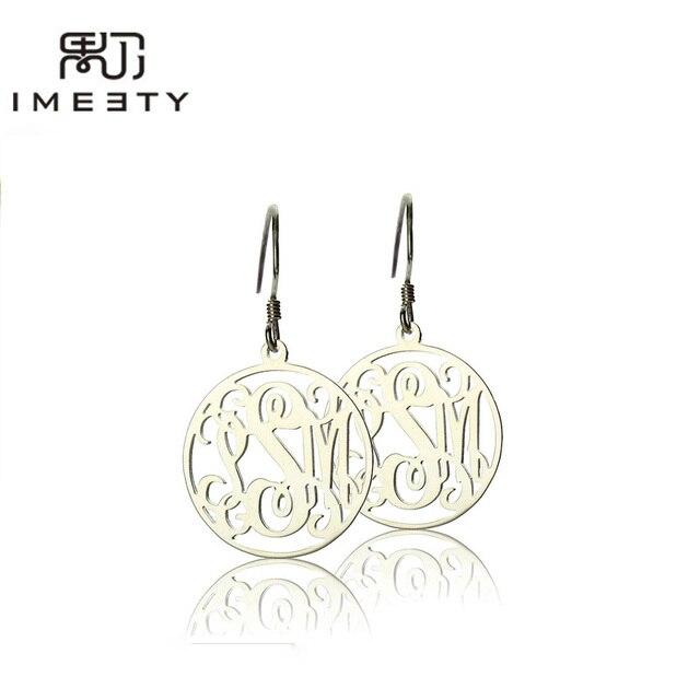 Imeety Fashion Jewellery Silver Name Pendant Earrings Circle Monogram Earring Handmade Custom Hoop For Women