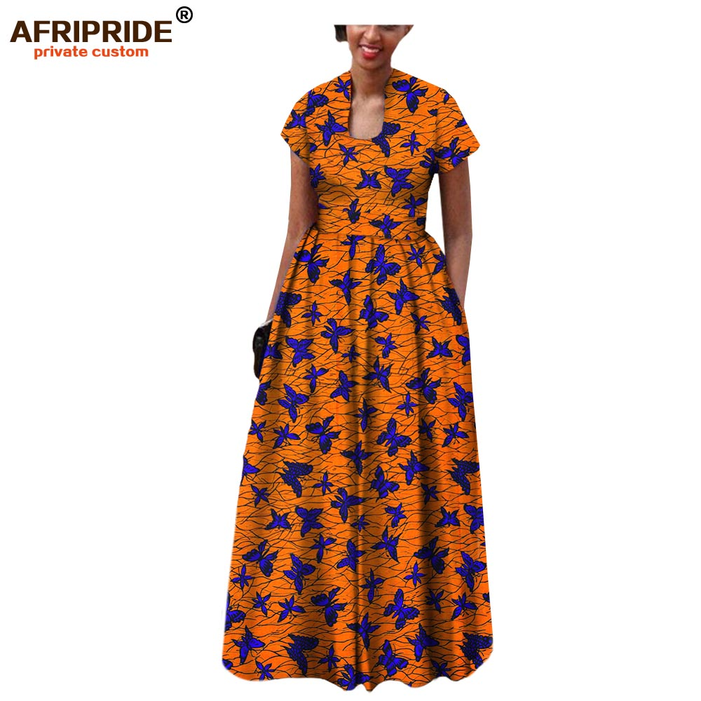 AFRIPRIDE african dress for women 2019 autumn short sleeve with sashes decoration floor length bohemian style