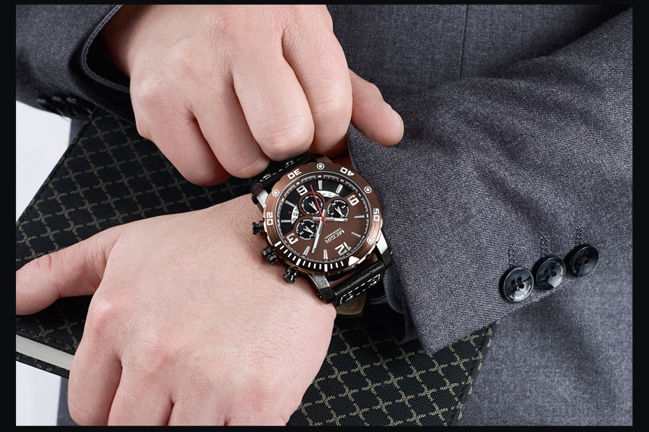 Topdudes.com - MEGIR Creative Military Style Chronograph Sports Watch with Leather Strap