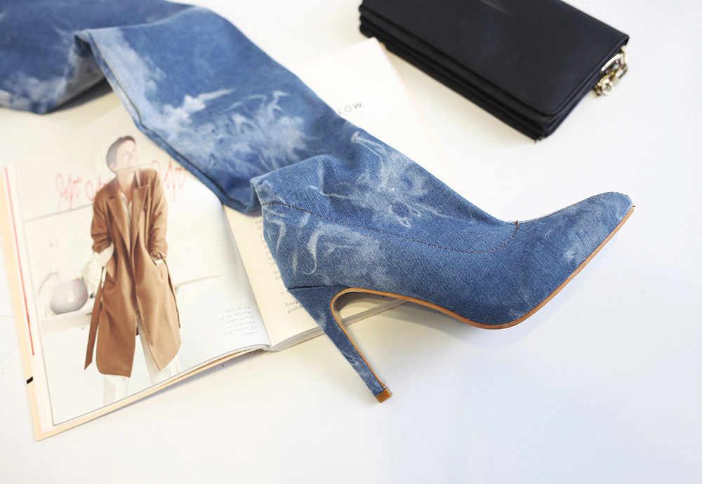 Moda mujer 2018 schoenen Vrouwen Super Hoge Hak Enkel Over De Knie Boot Denim Rits over de knie laarzen vrouwen Schoenen zapatos de mujer