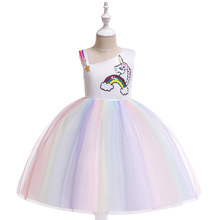Summer 2019 Girls Unicorn Dress Princess Kids for Party Rainbow Toddler Clothes Costume 3-10 Years