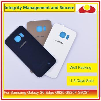 10 unids/lote para Samsung Galaxy S6 Edge G925 G925F G925T vivienda batería puerta trasera cubierta de cristal carcasa chasis reemplazo