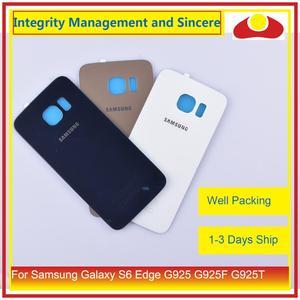 Image 1 - 50 pçs/lote Para Samsung Galaxy S6 Borda G925 G925F G925T Traseira Tampa Traseira de Vidro Habitação Porta Da Bateria Caso Shell Chassis substituição